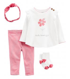 CARTER'S Set 4dílná tričko dl. rukáv, legíny, ponožky, čelenka Flower dívka LBB 9m, vel. 74