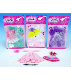 Šaty/Oblečky na panenky 2ks s doplňky asst na kartě 21x30cm