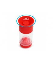 Munchkin - Netekoucí hrnek s infuzérem 414 ml - červený  DOPRODEJ