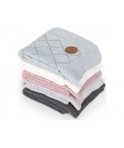 CEBA Deka pletená v dárkovém balení 90 x 90 rýžový vzor krémová