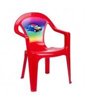 Dětský zahradní nábytek - Plastová židle červená auto