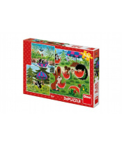 Puzzle Krtek a paraplíčko 18x18cm 3x55 dílků v krabici 27x19x3,5cm