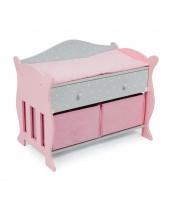 Bayer Chic 50691 Dřevěný  přebalovací pult růžovo-šedivý
