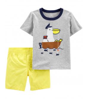 CARTER'S Set 2dílný tričko kr. rukáv, kalhoty kr. Pelican chlapec 9 m, vel. 74
