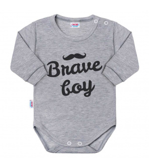 Kojenecké body s dlouhým rukávem New Baby Brave boy šedé