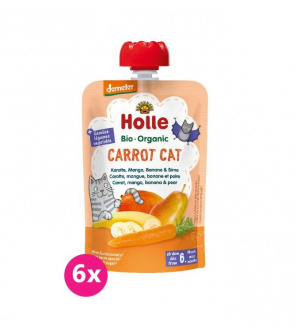6x HOLLE Carrot Cat Bio pyré mrkev mango banán hruška 100 g (6+)
