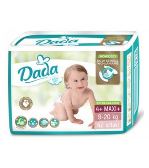 DADA Jednorázové pleny Extra Soft Maxi, vel. 4+ ( 9-20 kg), 42 ks