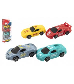 Auto/Autíčko sportovní 4ks plast 9cm na zpětné natažení v krabici 12x29x4,5cm