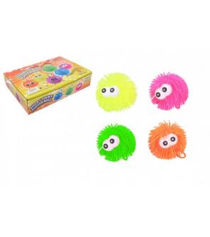 Míček s očima gumový chlupatý antistresový 9cm svítící 4 barvy 12ks v boxu