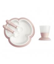 BABYBJÖRN Dětský jídelní set 4 dílný Pudrově růžový