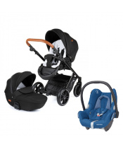 PETITE&MARS Kočárek kombinovaný Rover 3v1 Black s CabrioFix (0-13 kg) Essencial Blue