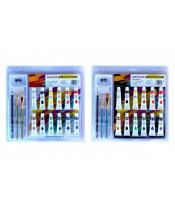 Barvy akrylové 12ml  12ks se štětci 2ks s blokem s doplňky na kartě 31x31cm