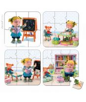Janod dětské puzzle v kufříku 6-9-12-16 dílů od 3-6 let