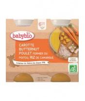 2x BABYBIO Mrkev s máslovou dýní, kuřetem a rýží (200 g)