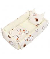 Multifunkční hnízdečko s polštářkem a peřinkou New Baby ovečky béžový