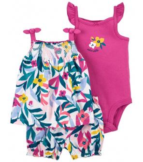 CARTER'S Set 3dílný body tílko, tunika, kalhoty kr. Multi Floral dívka 6 m, vel. 68