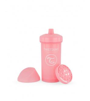 TWISTSHAKE Lahev netekoucí s pítkem 360 ml 12m+ pastelově růžová