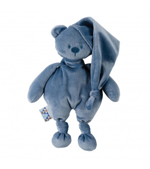 NATTOU Hračka plyšová medvídek Lapidou 100% recycled dark blue 36cm