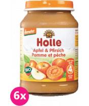 6x HOLLE Bio Broskev a jablko - ovocný příkrm, 190 g