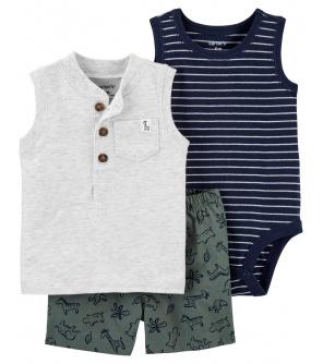 CARTER'S Set 3dílný body tílko, tričko bez rukávů, kalhoty kr. Grey Henley chlapec 6 m, vel. 68