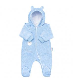 Kojenecký semiškový overal s kapucí New Baby Sweetheart modrý