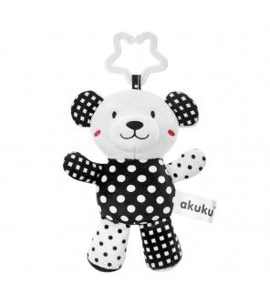 Plyšová hračka s chrastítkem Akuku medvídek černobílý