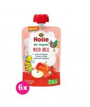 6x HOLLE Red Bee Bio pyré jablko jahody 100 g (8+)