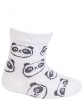WOLA Ponožky kojenecké bavlněné neutral Panda White 12-14