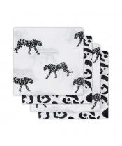 Jollein bavlněné pleny s potiskem 4ks, Leopard Black White