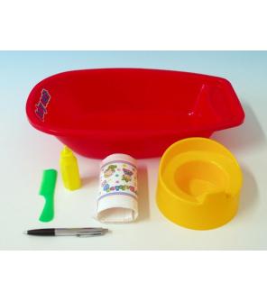 Vanička+nočník, plenka s doplňky plast 40x9,5cm asst 2 barvy