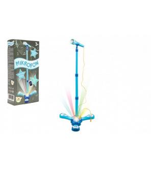 Mikrofon karaoke modrý plast na baterie se světlem v krabici 17x34x7cm