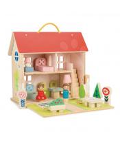 Tender Leaf Toys  Dřevěný domeček pro panenku Dolls house  s 2 postavičkami, nábytkem a 18 doplňků