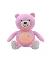 Hračka medvídek s projektorem - růžová 0m+