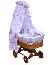 Scarlett Proutěný košík na miminko s nebesy Scarlett Pupis - růžová