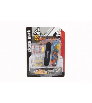 Skateboard prstový šroubovací plast 9cm s doplňky mix barev na kartě 12,5x17x3cm