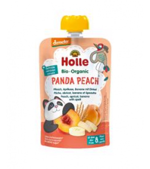 HOLLE Panda Peach Bio pyré broskev merunka banán špalda 100 g (8+)