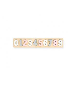 Jollein Dřevěné číselné puzzle pink/white