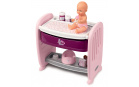Smoby SM220353 Postýlka k posteli s přebalovacím pultem Violette Baby Nurse 2v1 - 3 pozice s čurající panenkou a 8 doplňky od 24 měsíců