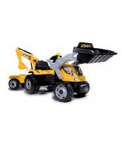 Smoby Traktor s bagrem a nakladačem Builder Max  s vlekem na šlapání