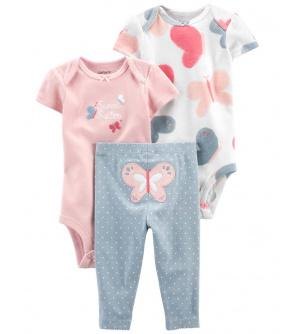 CARTER'S Set 3dílný body kr. rukáv 2ks, kalhoty Pink Butterfly dívka LBB 12m