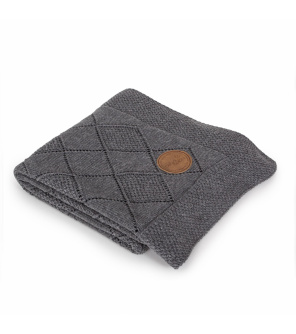 CEBA Deka pletená v dárkovém balení 90x90 rýžový vzor tmavě šedá