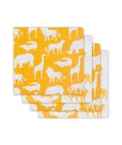 Jollein bavlněné pleny s potiskem 4ks, Safari Ocher
