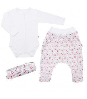 3-dílná bavlněná kojenecká souprava New Baby Kiddy bílo-růžová