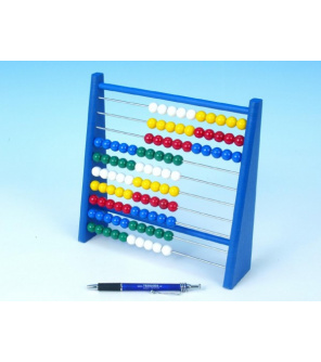 Počítadlo 100 kuliček 3 barvy dřevo/kov/plast 24x24cm v sáčku