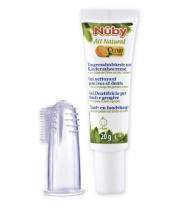 NUBY Zubní gel pro děti All Natural 20 g + kartáček na prst 4 m+