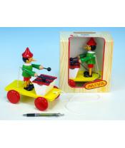 Pinocchio s xylofonem tahací dřevo 20cm v krabičce