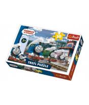 Puzzle Mašinka Tomáš 27x20cm 30 dílků v krabičce 21x14x4cm