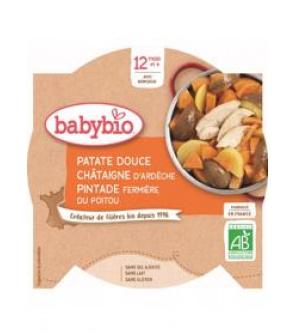 BABYBIO Sladké brambory s kaštanovým pyré a farmářskou perličkou (230 g) - masozeleninový příkrm