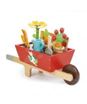 Tender Leaf Toys Dřevěné kolečko se zahradním nářadím Garden Wheelbarrow  13dílná souprava květináče s konví a rostlinami