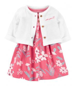 CARTER'S Set 2dílný šaty s kalhotkami Pink dívka LBB 3m